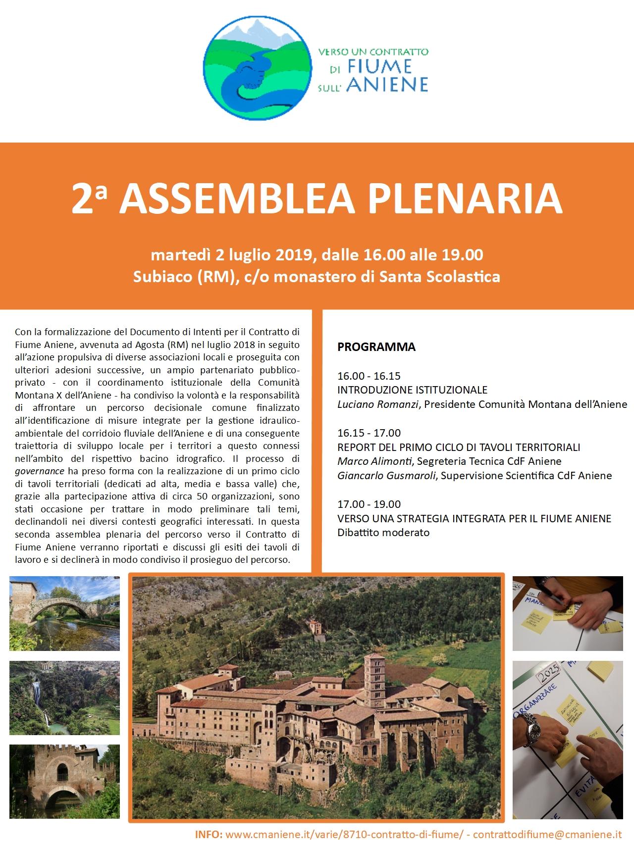 Martedì 2 Luglio presso il Monastero di S. Scolastica a Subiaco 2° Assemblea plenaria sul Contratto di fiume
